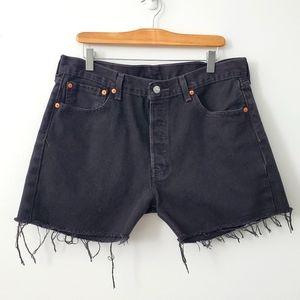 Levi's black cutoff denim shorts